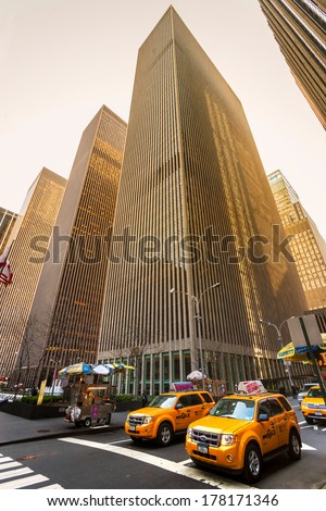 NEW YORK - MARCH 21: City streetlife in point of intersection of 6th Av. and 50th st. near the famous Rockefeller Center on March 21, 2011 in Manhattan, New York City - stock photo