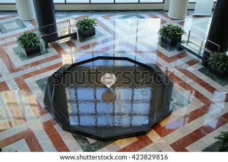 """NEW YORK - MARCH 6, 2016:""""Eleven Tears"""" an  American Express  9-11 memorial. 11-sided granite memorial is dedicated to the 11 American Express employees who lost their lives on September 11th. - stock photo"""