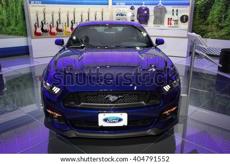 NEW YORK - MARCH 23: Ford Mustang GT premium coupe  shown at the 2016 New York International Auto Show during Press day,  public show is running from March 25th through April 3, 2016 in New York, NY. - stock photo