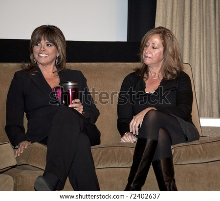 NEW YORK - MARCH 03: Journalist Jane Velez-Mitchell (L) & Executive Vice President of LOGO of MTV networks Lisa Sherman participate in Straight Talk conference by LGBT community on Mar 03, 2011 in NYC