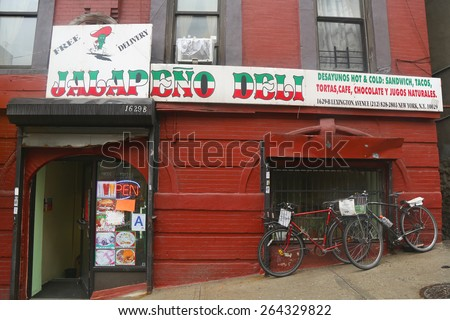 NEW YORK - MARCH 26, 2015: Local Deli in East Harlem, New York. East Harlem, also known as Spanish Harlem and El Barrio, is a neighborhood of Upper Manhattan, New York City. - stock photo