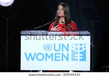 NEW YORK - March 10, 2015: Melinda Gates speaks during the Step It Up For Gender Equality event at the Hammerstein Ballroom on March 10, 2015, in New York.