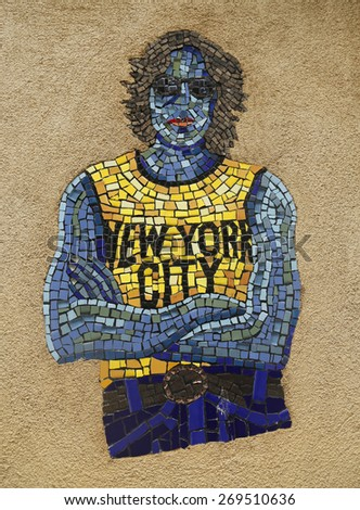 NEW YORK - MARCH 26, 2015: Mosaic street art by artist Manny Vega at East Harlem in New York - stock photo