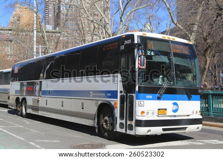 NEW YORK - MARCH 12, 2015:  New York City MTA bus at Madison Park Square in Manhattan  - stock photo