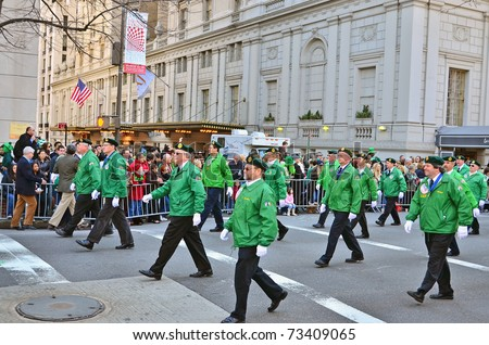 NEW YORK - MARCH 17: Participants of the 250th St. Patrick's Day Parade held on March 17, 2011 in New York. This parade is the largest Saint Patrick's Day parade in the world.