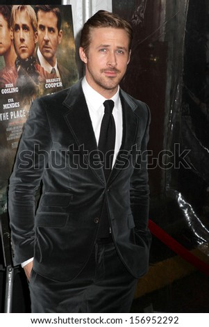 "NEW YORK - MARCH 28: Ryan Gosling attends the premiere of ""The Place Beyond The Pines"" at the Landmark Sunshine Cinema on March 28, 2013 in New York City. - stock photo"