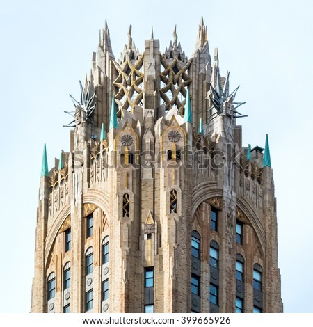 NEW YORK-MARCH 31-The former GE Building now known as 570 Lexington Ave with itâ??s most unusual Art Deco crown on March 31 2016 in New York City. - stock photo