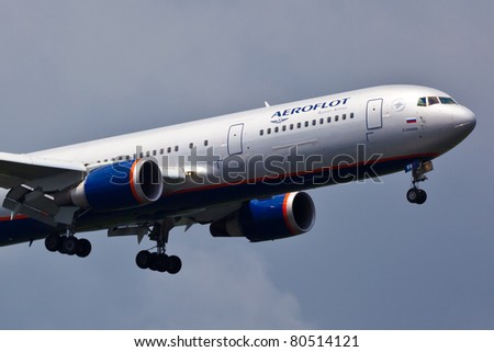 NEW YORK - MAY 9: A330 Aeroflot approaches JFK in New York, USA on May 9, 2011. Aeroflot is Russian flag carrier airline, is partly owned by the Russian government and serve over 200 routs