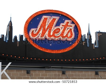 NEW YORK - MAY 26: Classic New York Mets logo, carried over to Citi Field from old Shea Stadium, on top of the Shake Shack on May 26, 2009 in New York. - stock photo