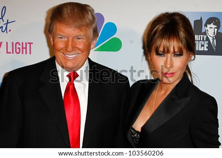 """NEW YORK-MAY 20: Donald Trump and wife Melania attend the """"Celebrity Apprentice"""" Live Finale at the American Museum of Natural History on May 20, 2012 in New York City. - stock photo"""