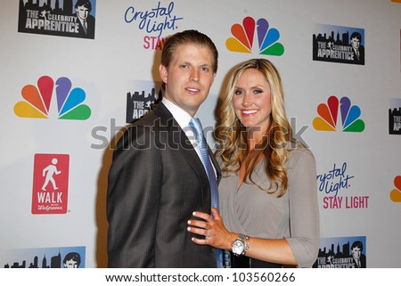 """NEW YORK-MAY 20: Eric Trump and fiancee Lara Yunaska attend the """"Celebrity Apprentice"""" Live Finale at the American Museum of Natural History on May 20, 2012 in New York City. - stock photo"""