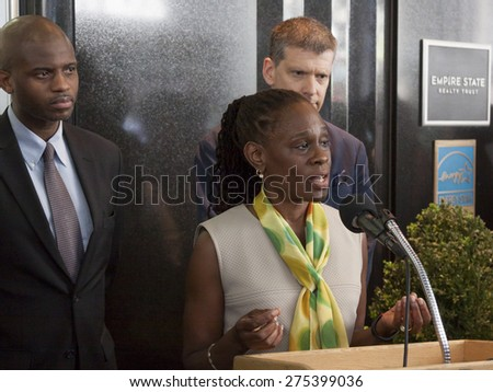 NEW YORK - MAY 5 2015: First Lady Chirlane McCray announces a $78 million budget proposed by her husband Mayor Bill de Blasio for mental health services at a press conference at the Empire State Bldg. - stock photo