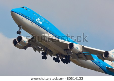 NEW YORK - MAY 25: KLM Boeing 747 on approach to JFK Airport located in New York, USA on May 25, 2011. KLM is one of the biggest airlines in the world and serves over 200 destinations