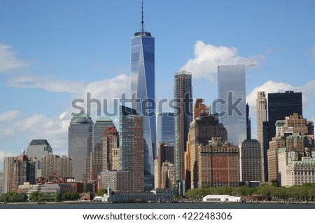 NEW YORK - MAY 15, 2016: Lower Manhattan skyline panorama. Freedom Tower is the tallest building in the Western Hemisphere and the third-tallest building in the world - stock photo