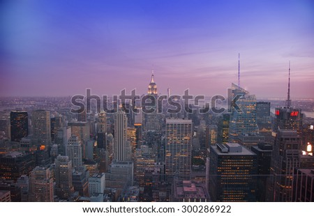 NEW YORK - May 29, 2015: Manhattan Skyline and Empire State Building, viewed from Rockefeller Plaza at night, New York City.