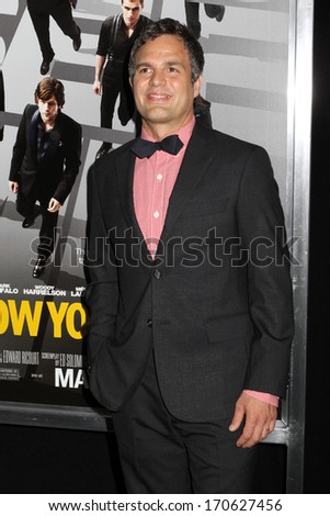 """NEW YORK - May 21: Mark Ruffalo attends the premiere of """"Now You See Me"""" at AMC Lincoln Square on May 21, 2013 in New York City. - stock photo"""