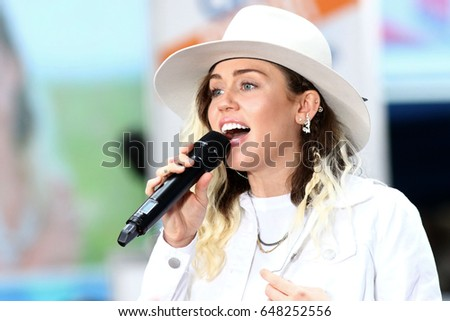 "NEW YORK - May 26, 2017: Miley Cyrus performs on the NBC ""Today"" show concert series on May 26, 2017, in New York City."