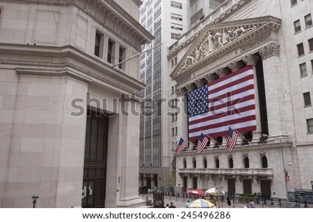 NEW YORK - MAY 22: New York Stock Exchange May 22, 2010 in New York, NY. With origins as far back as 1792, the NYSE is currently the world's largest exchange by market capitalization.  - stock photo