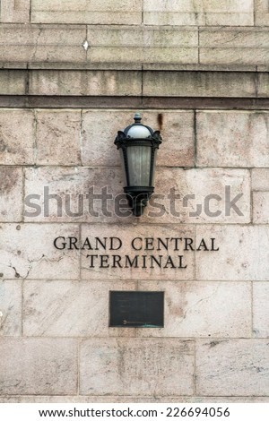 NEW YORK, MAY 7: Sign at entrance of grand central station Terminalin May 7th, 2013 in New York. It is the largest train station in the world by number of platforms: 44, with 67 tracks - stock photo