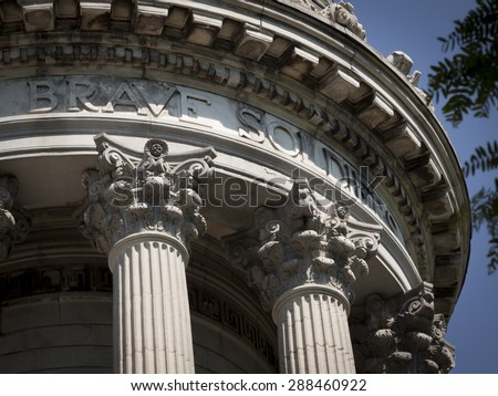 NEW YORK - MAY 25 2015: The words Brave Soldier carved in the white marble of the Soldiers and Sailors Monument in Manhattan after the Memorial Day Observance service held during Fleet Week NY 2015. - stock photo