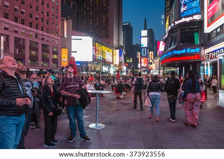 NEW YORK - MAY 03: Times Square crowded with people on May 03, 2015 in Manhattan, New York. Times Square is one of the most visited tourist attractions in the world.