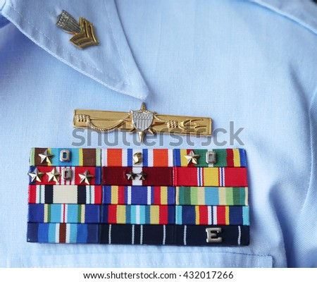 NEW YORK - MAY 26, 2016: US Coast Guard military ribbons on United States Coast Guard Uniform in New York - stock photo