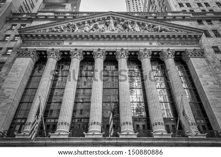 NEW YORK - MAY 27: Wall Street New York Stock Exchange is the world's largest stock exchange by market capitalization of its listed companies. May 27, 2013 in Manhattan, New York City - stock photo