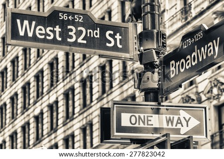 New York. 32nd street intersection sign in Manhattan. - stock photo