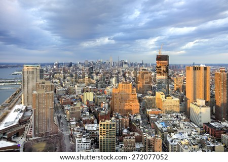 NEW YORK, NEW YORK - APRIL 5, 2015: The New York City Skyline with a view from downtown looking towards midtown Manhattan.