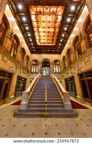 NEW YORK, NEW YORK - FEBRUARY 22, 2015: Interior of the Woolworth Building in New York City, USA. It was the tallest building in the world from 1913-1930.