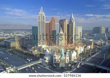 New York New York Hotel and Casino in morning light, Las Vegas, Nevada - stock photo