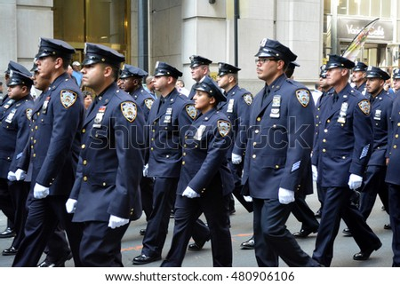 New York, New York. - September 9, 2016: Members of the NYPD marching in a procession marking the anniversary of the 9/11 terrorist attacks in Lower Manhattan in 2016 in New York City.