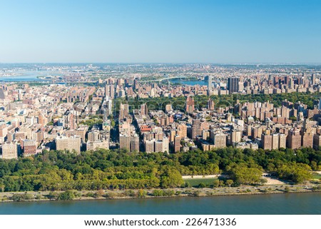 NEW YORK, NEW YORK - SEPTEMBER 27, 2014: Stunning aerial view of the West Side of Manhattan, New York from a helicopter. - stock photo
