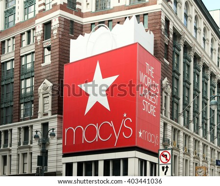 New York, New York, USA - APRIL 10, 2016: The entrance of Macy's New York flagship department store in Herald Square on Broadway. This is the largest department store in the world. - stock photo