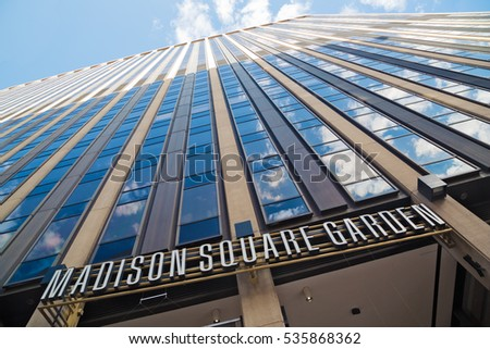 New York, New York, USA - August 08, 2013: Madison Square Garden building. Opened in 1968, it is the oldest active major sporting facility in the New York metropolitan area.
