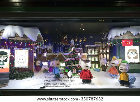 NEW YORK, NEW YORK, USA - DECEMBER 10: A Macy's window display for Christmas showing Charlie Brown and the peanuts gang.  Taken December 10, 2015 in NY.