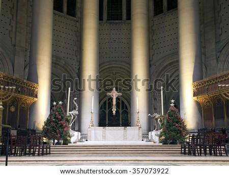 NEW YORK, NEW YORK, USA - DECEMBER 22: High altar at Christmas time inside Saint John Divine Church. Taken December 22, 2015 in New York. - stock photo