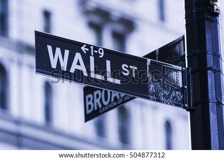 NEW YORK, NEW YORK, USA - FEBRUARY 19, 2005: Wall Street sign on post in financial district.
