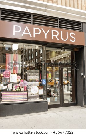 New York, New York, USA - July 15, 2016: A Papyrus store on 7th Ave. in Manhattan. Papyrus sells greeting cards, stationery, custom invitations as well as other paper goods.