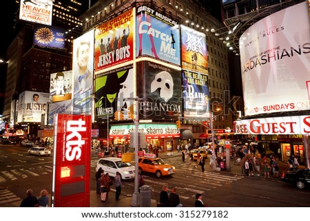 New York, New York, USA - June 2, 2011: Times Square New York. The corner of 7th Avenue and 47th street showing the many illuminated billboards.  - stock photo