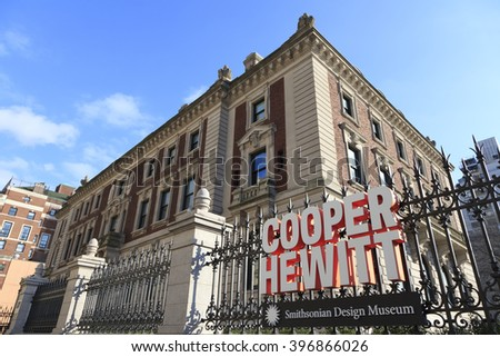 New York, New York, USA - March 24, 2016: The Cooper Hewitt, Smithsonian Design Museum located in Manhattan. Cooper Hewitt is a branch of the Smithsonian and is dedicated to design.