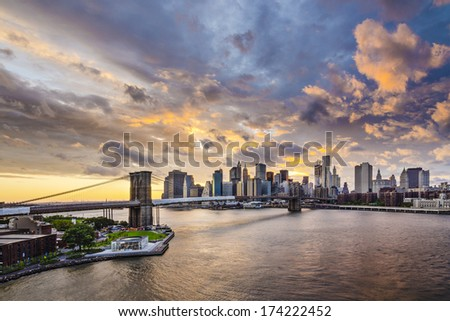 New York, New York, USA over the East River. - stock photo