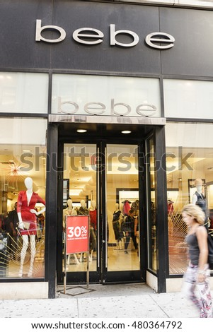 New York, New York, USA - September 7, 2016: Bebe store on 34th street in Manhattan. Bebe is a fashion retailer. People can be seen.