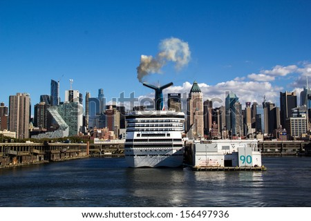 NEW YORK,NEW YORK,USA-SEPTEMBER 27: The Carnival Glory prepares to set sail from Manhattan on September 27, 2013. The cruise industry has become a large tourist business in New York. - stock photo