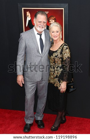 """NEW YORK-NOV 18: Actress Helen Mirren and husband Taylor Hackford attend the premiere of """"Hitchcock"""" at the Ziegfeld Theatre on November 18, 2012 in New York City. - stock photo"""