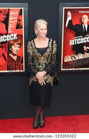"""NEW YORK-NOV 18: Actress Helen Mirren attends the premiere of """"Hitchcock"""" at the Ziegfeld Theatre on November 18, 2012 in New York City. - stock photo"""
