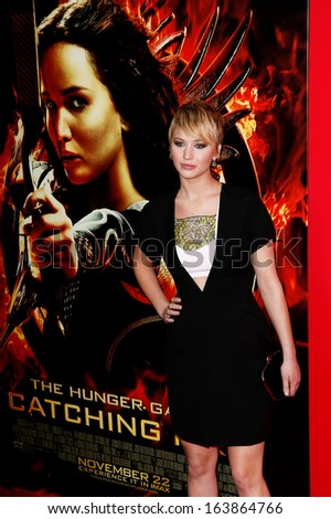 NEW YORK-NOV 20; Actress Jennifer Lawrence attends the 'Hunger Games: Catching Fire' premiere at AMC Lincoln Square Theater on November 20, 2013 in New York City. - stock photo