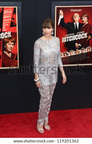 """NEW YORK-NOV 18: Actress Jessica Biel attends the premiere of """"Hitchcock"""" at the Ziegfeld Theatre on November 18, 2012 in New York City. - stock photo"""