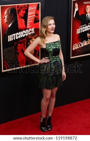 """NEW YORK-NOV 18: Actress Scarlett Johansson attends the premiere of """"Hitchcock"""" at the Ziegfeld Theatre on November 18, 2012 in New York City. - stock photo"""