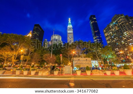 NEW YORK - NOV 02: Cityscape of New York City at twilight on Nov 02, 2015. New York City is the most densely populated city in the United States. - stock photo